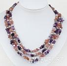 三排灰珍珠紫水晶草莓晶项链