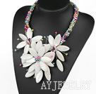 彩色珍珠贝壳花朵项链