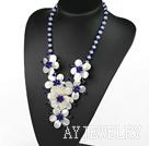 宝石蓝水晶白蝶贝花朵项链 编花款