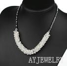 时尚切面白水晶镀银水晶项链
