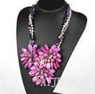 珍珠紫水晶玛瑙贝壳花朵项链