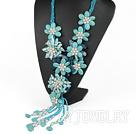 牙齿珍珠松石蓝玛瑙项链