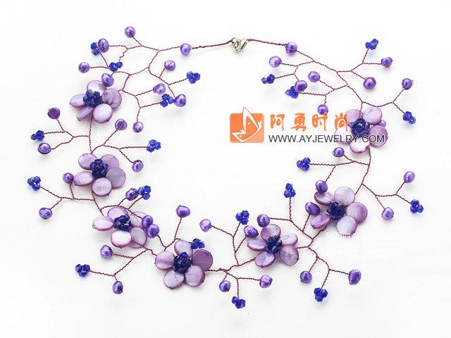 紫色珍珠水晶贝壳项链