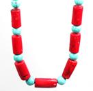 松石圆柱形珊瑚项链 配方向盘扣