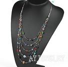 彩色多层水晶项链