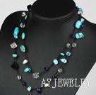 珍珠水晶黑玛瑙松石项链