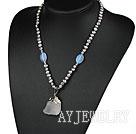 珍珠蛋白石白水晶项链