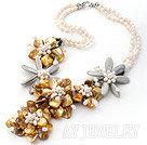 天然白珍珠贝壳花项链