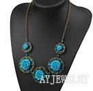 蓝色复古花朵项链
