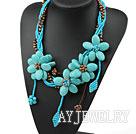 松石珍珠花项链