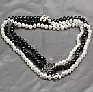 黑白双色海贝珠小香风长款项链