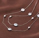 天然灰珍珠纽扣珍珠项链毛衣链