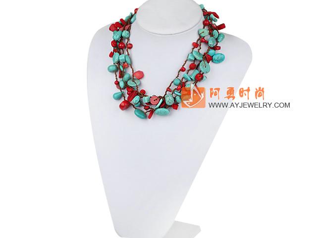 珊瑚松石项链 多层款