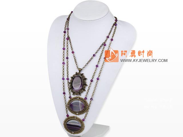 紫色玛瑙项链 三层合金链吊坠款