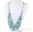 松石蓝晶水晶项链