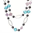 紫水晶黑珍珠项链 毛衣链  110cm合金链长款