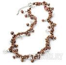 棕色珍珠水晶项链