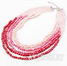 粉红渐变水晶珍珠多排项链