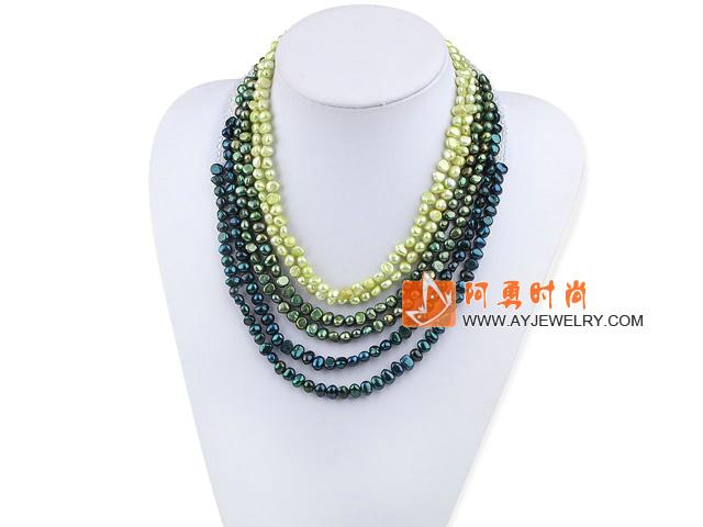 绿色渐变水晶珍珠多排项链