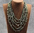 绿色五层再生珍珠水晶项链