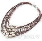 白珍珠多股棕皮绳项链