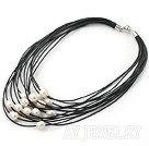 白珍珠多股皮绳项链