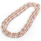 8-9mm白粉紫色长款珍珠项链