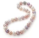 12-14mm白粉紫色珍珠项链