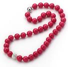 新款枚红色海贝珠钻球项链