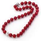 新款红色海贝珠钻球项链
