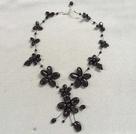 黑玛瑙小花朵项链