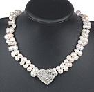 白色异形偏孔珍珠项链