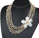 五排黄水晶珍珠贝壳花项链