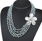 五排蓝晶石珍珠贝壳花项链 五层款
