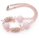 粉水晶芙蓉石项链