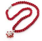 珊瑚水晶珍珠项链