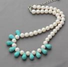 A级白珍珠水滴松石项链