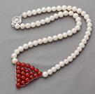 天然白珍珠红玛瑙项链