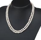 6-7mm双层白珍珠项链