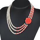 天然白珍珠粉珊瑚项链 三层玫瑰花扣款