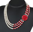 天然白珍珠红珊瑚项链 三层玫瑰花扣款