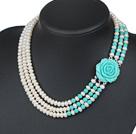 天然白珍珠松石项链 三层玫瑰花扣款
