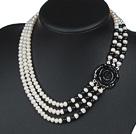 天然白珍珠黑玛瑙项链 三层玫瑰花扣款