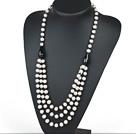 天然白珍珠黑玛瑙项链