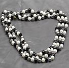 8mm白灰黑三色海贝珠圆珠长款项链