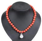 橘红色海贝珠吊坠项链