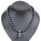 黑色海贝珠吊坠项链