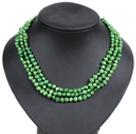 绿色土豆形珍珠三层项链