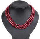酒红色土豆形珍珠三层项链