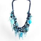 蓝色系水晶玛瑙礼服项链